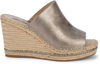 Karl Lagerfeld Paris Carina Metallic Leather Wedge Sandals