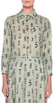 Marni Long-Sleeve Button-Front Vine-Print Woven Blouse
