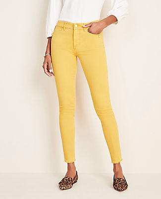 Ann Taylor Button Sculpting Pocket Frayed Skinny Jeans