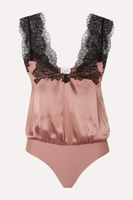CAMI NYC The Lauren Lace-trimmed Silk-charmeuse And Stretch-jersey Thong Bodysuit - Pink