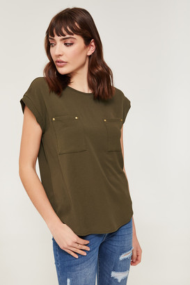 Ardene Crepe Top with Patch Pockets