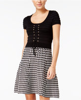 XOXO Juniors' Lace-Up Printed Fit & Flare Sweater Dress