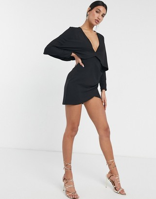 ASOS DESIGN cape mini dress with wrap skirt