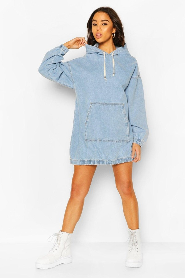 boohoo Hooded Denim Pullover Dress