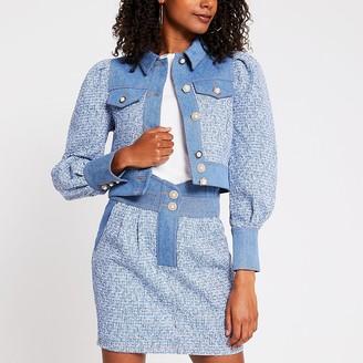 River Island Blue cropped boucle mix denim jacket