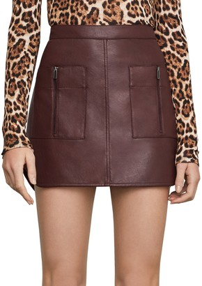 BCBGMAXAZRIA Patch Pocket Faux Leather Skirt