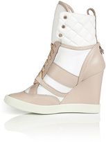 Chloé Leather/Canvas Wedge Sneakers