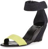 Pierre Hardy Neon Denim & Leather Wedge Sandal