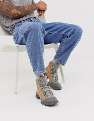 Asos DESIGN lace up hiker boots in stone faux leather with colour pop details