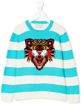 Gucci Kids Angry Cat-intarsia striped jumper