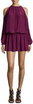 Ramy Brook Lauren Cold-Shoulder Blouson Dress, Sangria
