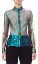 DELPOZO Iridescent Silk Lace Blouse, Blue Green