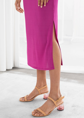 And other stories Ribbed Double Side Slit Midi Dress