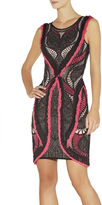 Herve Leger Mena Crochet Mesh Jacquard with Fringe Detail Dress