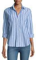 Frank And Eileen Eileen Long-Sleeve Striped Chambray Blouse, Blue