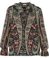 Vilshenko Emma Ruffled Printed Washed-Silk Blouse