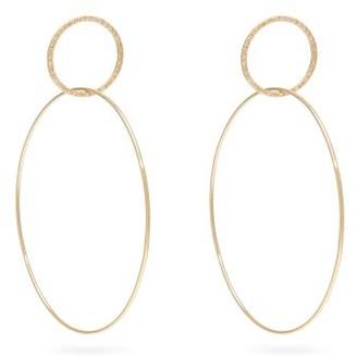 Ileana Makri Double Slim Diamond & 18kt Gold Hoop Earrings - Womens - Yellow Gold