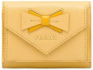 Prada bow-embellished Saffiano wallet