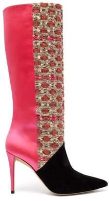 Matty Bovan - X Gina Knee-high Tweed And Satin Boots - Womens - Pink Multi