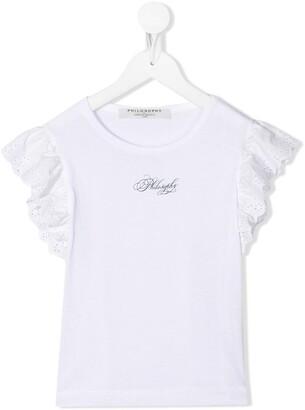 Philosophy di Lorenzo Serafini Kids lace-trimmed logo T-shirt