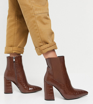 Simmi Wide Fit Simmi London Wide Fit block heeled ankle boots in tan croc