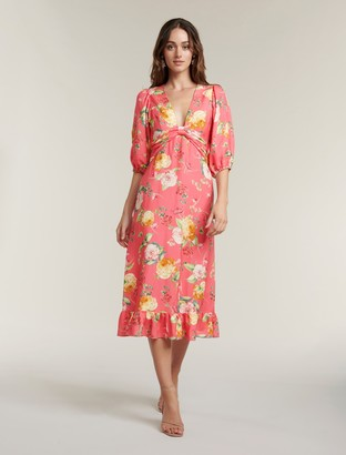 Forever New Cartier Linen Midi Dress - Coral Garden - 10
