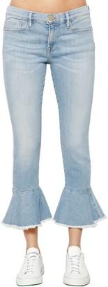 Frame Ruffled Hem Cropped Denim Jeans