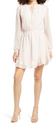 WAYF x BFF Laura Smocked Waist Long Sleeve Minidress
