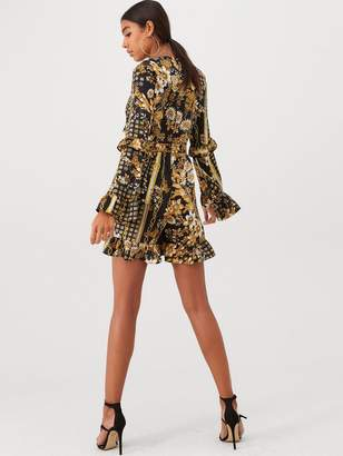 Forever Unique U Collection Bell Sleeve Tie Front Playsuit - Black Gold