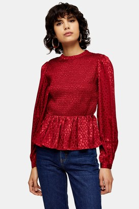 Topshop Womens Red Jacquard Shirred Prairie Blouse - Red