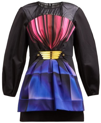 Mary Katrantzou Perfume Bottle-print Satin Mini Dress - Black Multi
