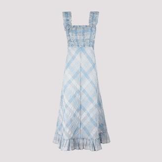 Ganni Seersucker Check Maxi Dress