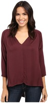 Michael Stars Romy Rayon Long Sleeve Hi-Low Crossback Top
