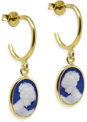 Vintouch Italy Gold-Plated Blue Mini Cameo Hoop Earrings