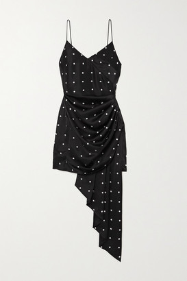 David Koma Draped Crystal-embellished Satin Mini Dress - Black