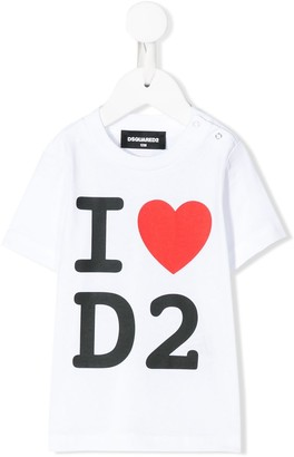 DSQUARED2 logo and heart printed T-shirt