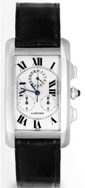 Cartier Tank Americaine W2603356 18K White Gold & Leather White Dial Quartz 45mm Men's Watch