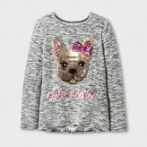 "Miss Chievous Girls' Sequin ""DREAMER"" Puppy Face Top - Gray"