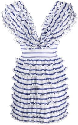 Philosophy di Lorenzo Serafini Ruffled Striped Dress