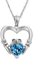 Macy's Sterling Silver Necklace, Blue Topaz (1-5/8 ct. t.w.) and Diamond Accent Claddagh Pendant