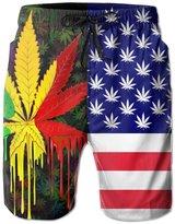 BOWENSS Marijuana Leaf Weed Cannabis Men's Water Sports Beach Shorts