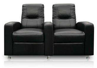 Bass Tristar Home Theater Lounger Row seating (Row of 2 Type: Not Motorized, Upholstery: Nusuede - Antilope, Cupholders: Black cup holders