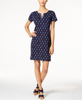 Karen Scott Petite Anchor-Print Lace-Up Dress, Only at Dress