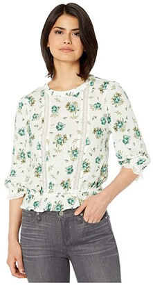 1 STATE 3/4 Sleeve Lace Inset Festival Roses Blouse (Soft Ecru Veridian Emerald Multi) Women's Clothing