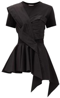 Alexander McQueen Peplum Bodice-overlay Cotton T-shirt - Black