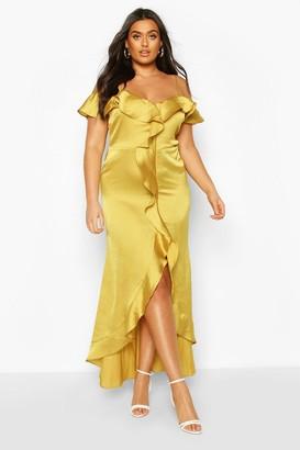 boohoo Plus Cold Shoulder Ruffle Satin Midaxi Dress