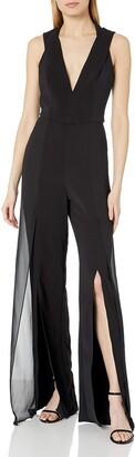 Halston Women's Sleeveless V Neck Jumpsuit with Chiffon Panels