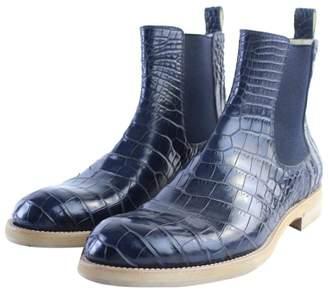 Louis Vuitton Navy Crocodile Boots