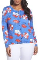 Foxcroft Plus Size Women's Floral Print Cotton Cardigan