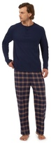 Maine New England Big And Tall Navy Long Sleeved Top And Checked Trousers Loungewear Set